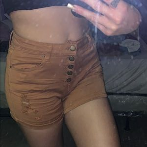 High waisted brown shorts
